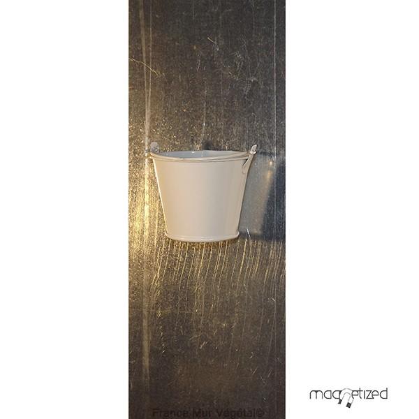 cache pot magn tique 7cm sceau blanc mat riel mur v g. Black Bedroom Furniture Sets. Home Design Ideas