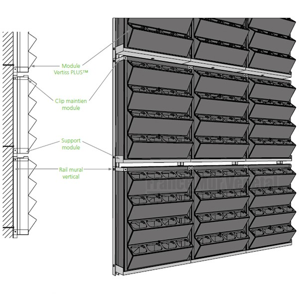 4 kits mur v g tal vertiss plus 80x60x20cm mat riel mur v g. Black Bedroom Furniture Sets. Home Design Ideas