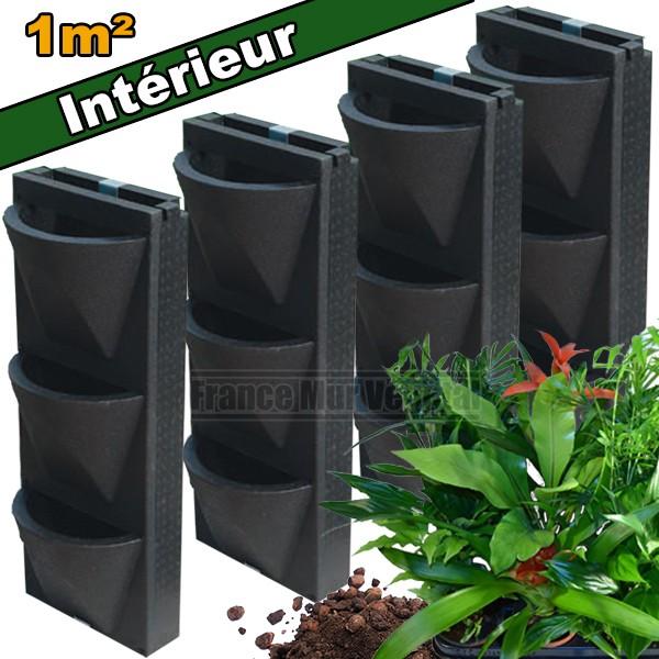 4 kits mur v g tal int rieur vertiss compact 80x30x20cm avec plantes terreau mat riel mur. Black Bedroom Furniture Sets. Home Design Ideas