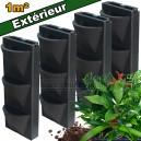 4 Kits mur végétal extérieur Vertiss Compact 80x30x20cm avec plantes & terreau