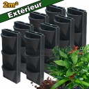 8 Kits mur végétal extérieur Vertiss Compact 80x30x20cm avec plantes & terreau