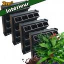 4 Kits mur végétal intérieur Vertiss Plus 80x60x20cm avec plantes & terreau