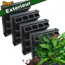 4 Kits mur végétal extérieur Vertiss Plus 80x60x20cm avec plantes & terreau