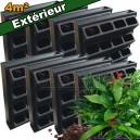 8 Kits mur végétal extérieur Vertiss Plus 80x60x20cm avec plantes & terreau