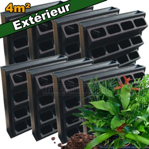 8 kits mur v g tal ext rieur vertiss plus 80x60x20cm avec for Plantes mur vegetal exterieur