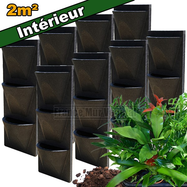 8 kits mur v g tal int rieur vertiss corner 80x30x23cm avec plantes terreau mat riel mur. Black Bedroom Furniture Sets. Home Design Ideas