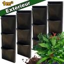 4 Kits mur végétal extérieur Vertiss Corner 80x30x23cm avec plantes & terreau