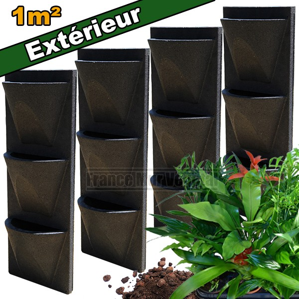 4 kits mur v g tal ext rieur vertiss corner 80x30x23cm avec plantes terreau mat riel mur. Black Bedroom Furniture Sets. Home Design Ideas