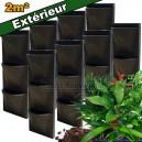 8 Kits mur végétal extérieur Vertiss Corner 80x30x23cm avec plantes & terreau
