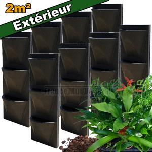 8 kits mur v g tal ext rieur vertiss corner 80x30x23cm avec plantes terreau mat riel mur. Black Bedroom Furniture Sets. Home Design Ideas