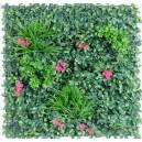 Plaque mur végétal artificiel vert fushia 100x100cm