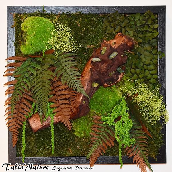 cadre v g tal stabilis tablo nature 40x40cm green crystal mat riel mur v g. Black Bedroom Furniture Sets. Home Design Ideas