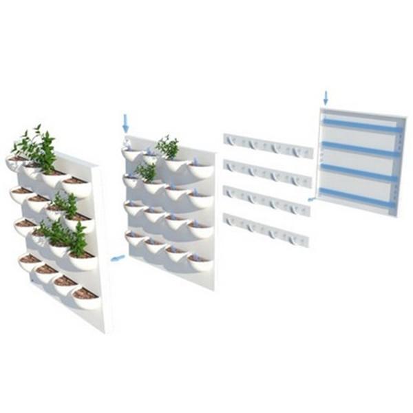 4 kits mur v g tal flowall blanc 42x40cm avec plantes - Kit mur vegetal interieur ...