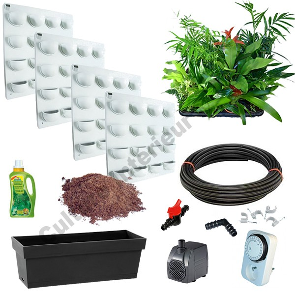 4 kits mur v g tal flowall blanc avec plantes arrosage for Arrosage automatique interieur