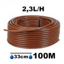Tuyau Ø16mm goutteur autorégulant 2.3L/H espacement 33cm longueur 100M
