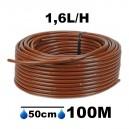 Tuyau Ø16mm goutteur autorégulant 1.6L/H espacement 50cm longueur 100M