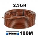 Tuyau Ø16mm goutteur autorégulant 2.3L/H espacement 50cm longueur 100M