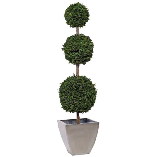 topiaire 3 boules de buis vert stabilis 170cm mat riel mur v g. Black Bedroom Furniture Sets. Home Design Ideas