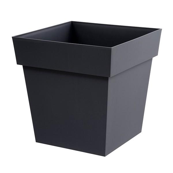 Pot toscane carr 38l gris anthracite 39x39x39cm for Pot gris exterieur