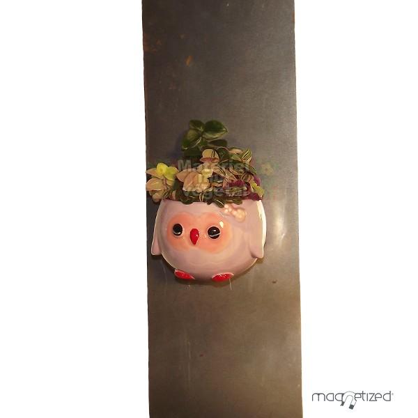 Cache pot magn tique 8cm hiboux mauve mat riel mur v g - Cache pot a accrocher au mur ...