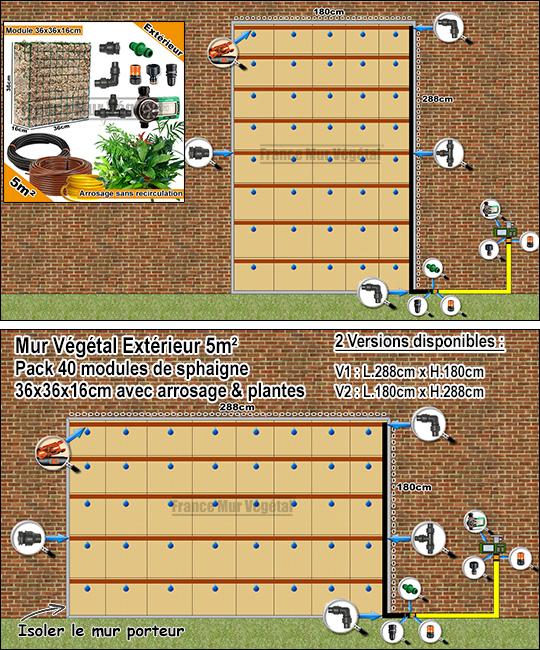 pack ext rieur 5m modules de sphaigne 36x36x16cm avec plantes irrigation sans recirculation. Black Bedroom Furniture Sets. Home Design Ideas