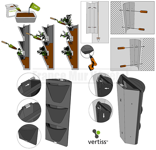 8 kits mur v g tal ext rieur vertiss corner 80x30x23cm avec plantes terreau mat riel mur. Black Bedroom Furniture Sets. Home Design Ideas