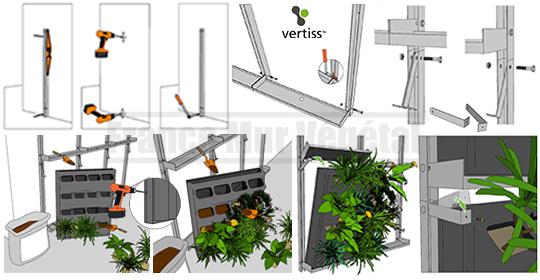 8 kits mur v g tal vertiss plus 80x60x20cm mat riel mur v g. Black Bedroom Furniture Sets. Home Design Ideas