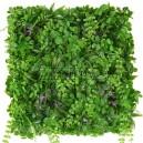 Plaque mur végétal artificiel vert violet 50x50cm