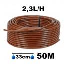 Tuyau Ø16mm goutteur autorégulant 2.3L/H espacement 33cm longueur 50M